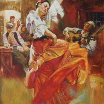 سفارش نقاشی رنگ روغن گیتار اسپانیولی