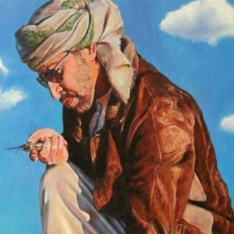 نقاشی رنگ روغن مرد و عقاب